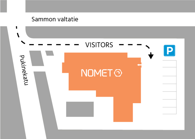 Map with driving instructions to Nomet Oy Tampere office